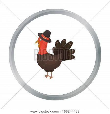 Turkey icon in cartoon style isolated on white background. Canadian Thanksgiving Day symbol vector illustration. - stock vector