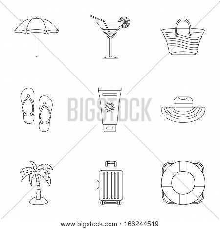 Sandy beach icons set. Outline illustration of 9 sandy beach vector icons for web