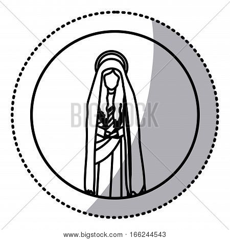 circular sticker with contour figure of saint virgin maria vector illustration