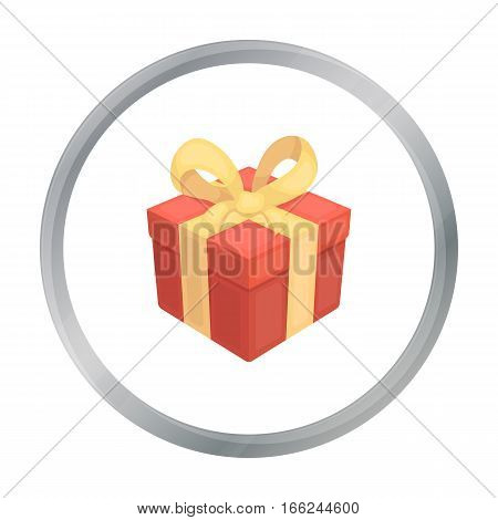 Gift icon in cartoon style isolated on white background. Canadian Thanksgiving Day symbol vector illustration. - stock vector