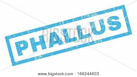 Phallus text rubber seal stamp watermark. Tag inside rectangular shape with grunge design and unclean texture. Inclined vector blue ink sticker on a white background.