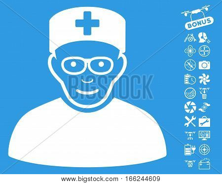 Medical Specialist icon with bonus airdrone service symbols. Vector illustration style is flat iconic white symbols on blue background.