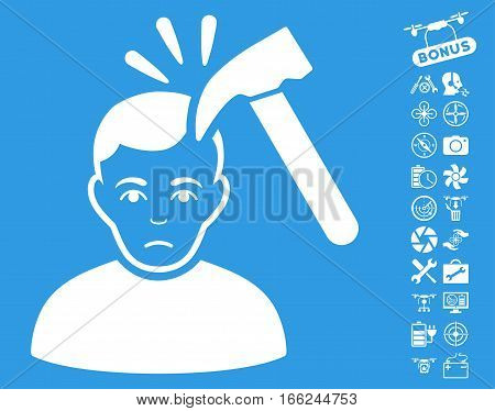 Murder With Hammer icon with bonus quadrocopter tools pictograms. Vector illustration style is flat iconic white symbols on blue background.