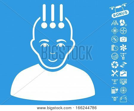 Neural Interface icon with bonus nanocopter service symbols. Vector illustration style is flat iconic white symbols on blue background.