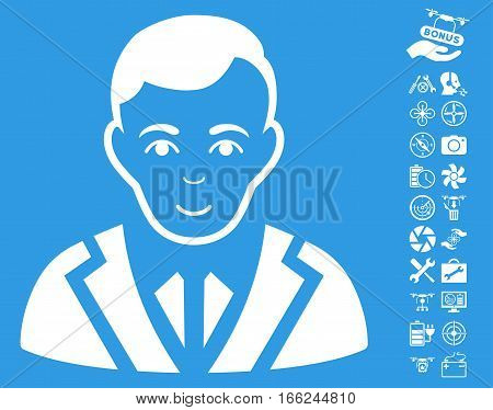 Noble pictograph with bonus aircopter service clip art. Vector illustration style is flat iconic white symbols on blue background.