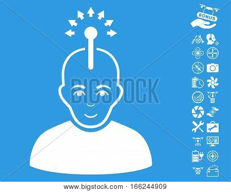 Optical Neural Interface pictograph with bonus airdrone service graphic icons. Vector illustration style is flat iconic white symbols on blue background.