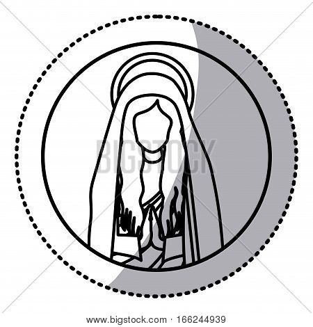 circular sticker with contour half body saint virgin mary praying vector illustration