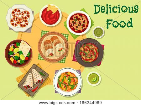 Mexican cuisine traditional food icon of tomato bean soup with tortilla, vegetable bean salad, chilli chicken, tomato sauce salsa, beef steak fajita, chicken burrito, sweet bread with dried fruit