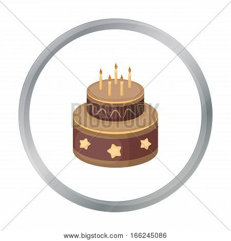 Chocolate cake with stars icon in cartoon design isolated on white background. Cakes symbol stock vector illustration. - stock vector