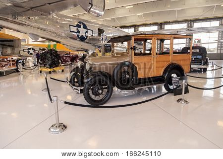 Santa Ana CA USA - January 21 2017: Woody 1929 Ford Model A Station Wagon displayed at the Lyon Air Museum in El Santa Ana California United States. It was used during World War II. Editorial use only.