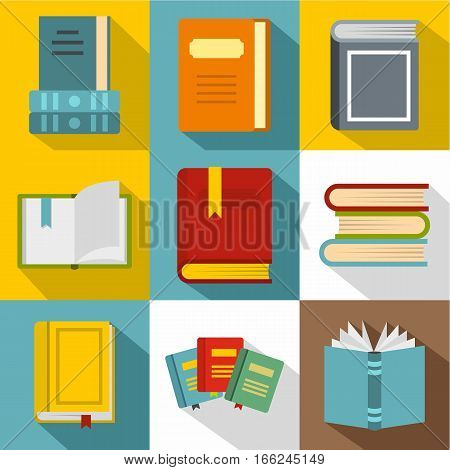 Reading icons set. Flat illustration of 9 reading vector icons for web