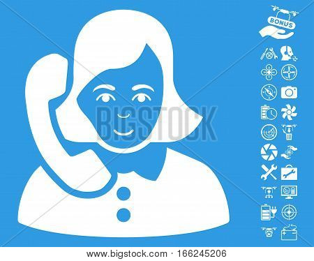 Receptionist icon with bonus aircopter service symbols. Vector illustration style is flat iconic white symbols on blue background.