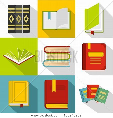 Textbooks icons set. Flat illustration of 9 textbooks vector icons for web poster