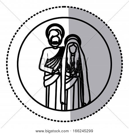 circular sticker with contour virgin mary and saint joseph vector illustration