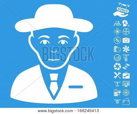 Secret Service Agent pictograph with bonus drone service graphic icons. Vector illustration style is flat iconic white symbols on blue background.