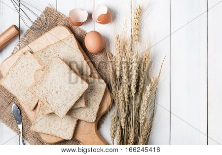 Bread Wheat On Old White Wood Background