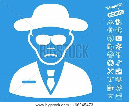Security Agent pictograph with bonus drone tools graphic icons. Vector illustration style is flat iconic white symbols on blue background.