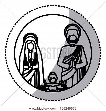 sticker silhouette sacred family with baby jesus vector illustration