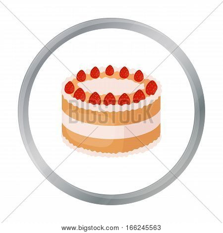 Strawberry cake icon in cartoon design isolated on white background. Cakes symbol stock vector illustration. - stock vector