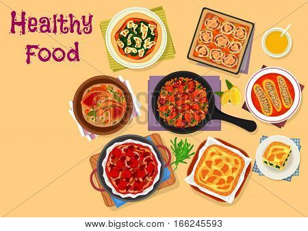Italian cuisine lunch menu icon with tomato bread focaccia, chicken paella, stuffed zucchini with meat, flatbread with cheese and cabbage, turkey stew with veggies, vegetable spinach pie, chicken pie