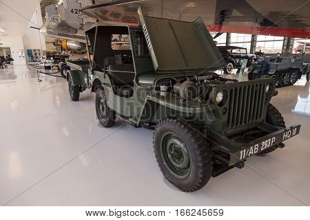 Santa Ana CA USA - January 21 2017: Dark green 1943 Ford GPW Military Jeep displayed at the Lyon Air Museum in El Santa Ana California United States. It was used during World War II. Editorial use only.
