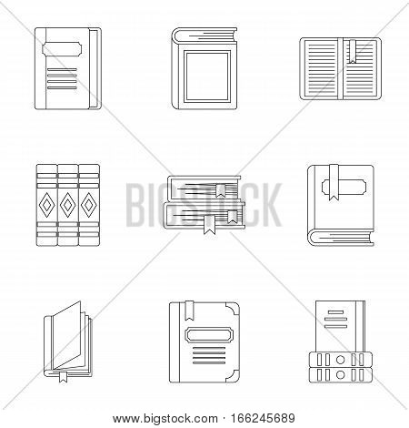 Reading icons set. Outline illustration of 9 reading vector icons for web