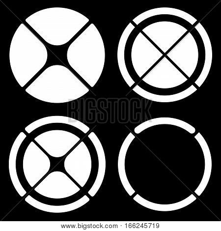 Set Of Circular Crosshair (target Mark) Symbols Or Pie Chart, Pie Graph Elements. Segmented Circle C