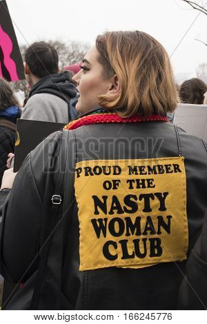 PHILADELPHIA, PA - JAN 21 2017: Women's March on Philadelphia. A sister march of Women's March on Washington. Women and men gathering in peaceful protest on Benjamin Franklin Parkway. Nasty woman club.