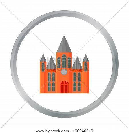 Church icon cartoon. Single building icon from the big city infrastructure cartoon. - stock vector