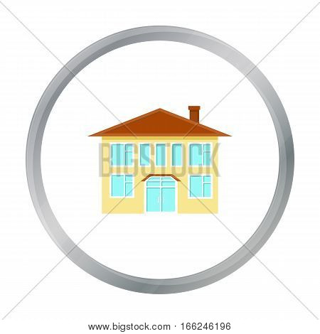 House icon cartoon. Single building icon from the big city infrastructure cartoon. - stock vector