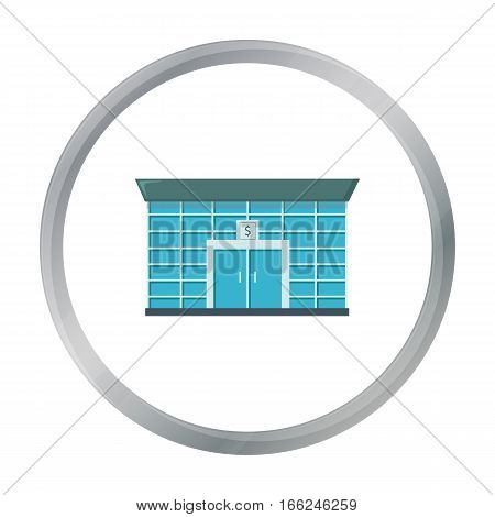 Bank icon cartoon. Single building icon from the big city infrastructure cartoon. - stock vector