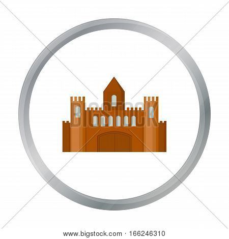 Castle icon cartoon. Single building icon from the big city infrastructure cartoon. - stock vector