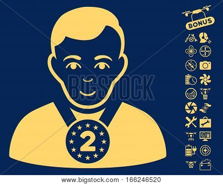 2nd Prizer Sportsman icon with bonus airdrone tools design elements. Vector illustration style is flat iconic yellow symbols on blue background.