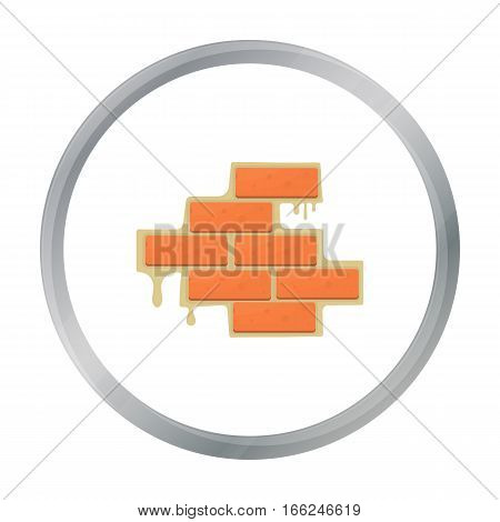 Brick wall icon in cartoon style isolated on white background. Build and repair symbol vector illustration. - stock vector