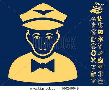Airline Steward icon with bonus uav tools graphic icons. Vector illustration style is flat iconic yellow symbols on blue background.