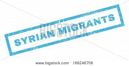 Syrian Migrants text rubber seal stamp watermark. Tag inside rectangular shape with grunge design and unclean texture. Inclined vector blue ink emblem on a white background.