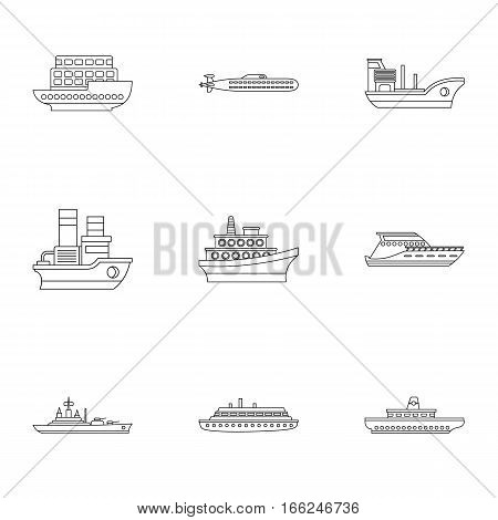 Maritime transport icons set. Outline illustration of 9 maritime transport vector icons for web