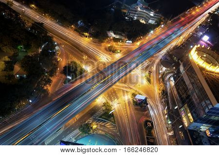 Intersection in Bangkok, Night view, Downtown district.