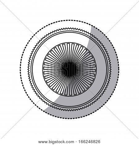 sticker of stamp circular art deco emblem shading vector illustration
