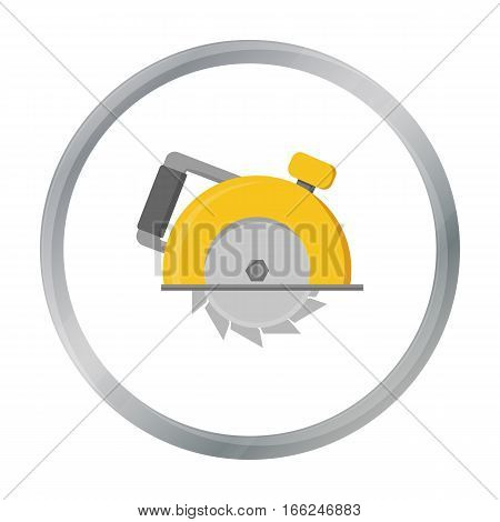 Circular saw icon in cartoon style isolated on white background. Build and repair symbol vector illustration. - stock vector