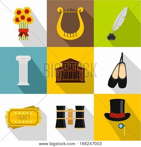 Theatrical performance icons set. Flat illustration of 9 theatrical performance vector icons for web