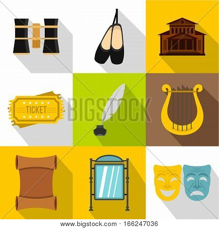 Entertainment in theatre icons set. Flat illustration of 9 entertainment in theatre vector icons for web