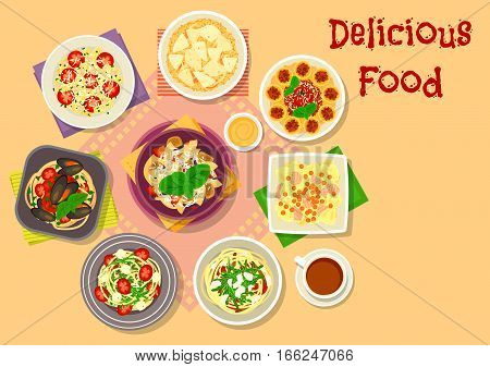 Italian cuisine icon of tomato pasta with pesto, basil, anchovy, veggies, seafood spaghetti, baked pasta with meat and cheese sauce, salmon pasta with caviar, mushroom risotto, spaghetti with tomato