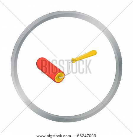 Paint roller icon in cartoon style isolated on white background. Build and repair symbol vector illustration. - stock vector
