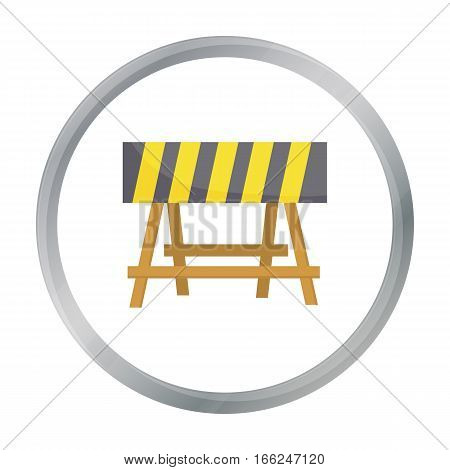 Construction barricade icon in cartoon style isolated on white background. Build and repair symbol vector illustration. - stock vector