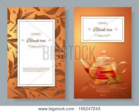 Vector black tea banners with transparent teapot and tea leaves. Design for packaging drink menu and tea products. With place for text.