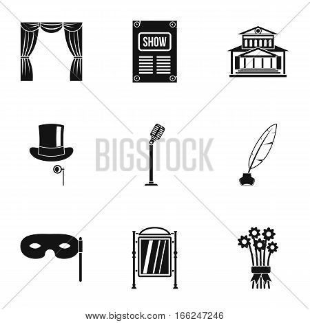 Entertainment in theatre icons set. Simple illustration of 9 entertainment in theatre vector icons for web