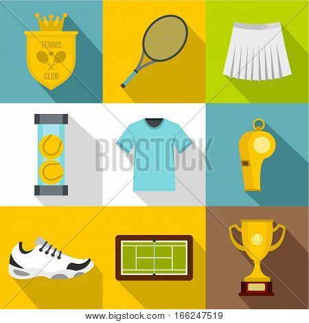 Tennis icons set. Flat illustration of 9 tennis vector icons for web