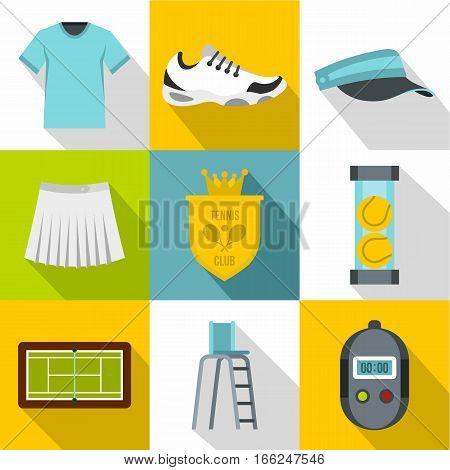 Big tennis icons set. Flat illustration of 9 big tennis vector icons for web