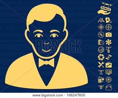 Dealer pictograph with bonus uav tools images. Vector illustration style is flat iconic yellow symbols on blue background.